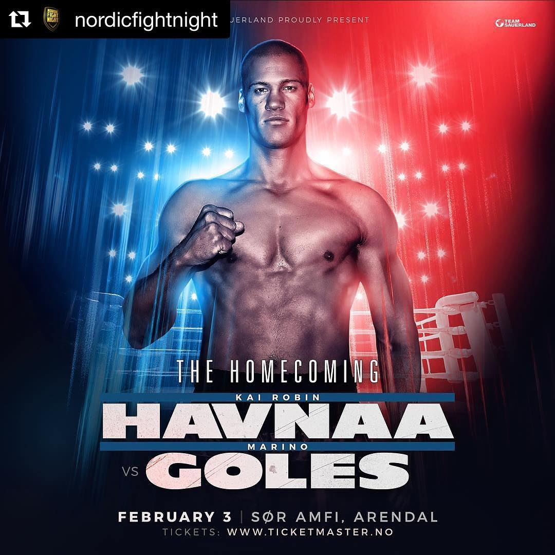 @nordicfightnight ・・・ The Homecoming! Kai Robin @havnaa headlines his hometown arena in Arendal on February 3! Tickets on sale tomorrow from 9.00 via Ticketmaster.no 🇳🇴🥊 TeamHavnaa sponsors🙏👊 @aktivgronlandbjorvika  @paulsenogsonn_bademiljo  @aktiv_trening_arendal  @nutraminonorge  @eirshelsehus  bsjinvest @brekkadesign