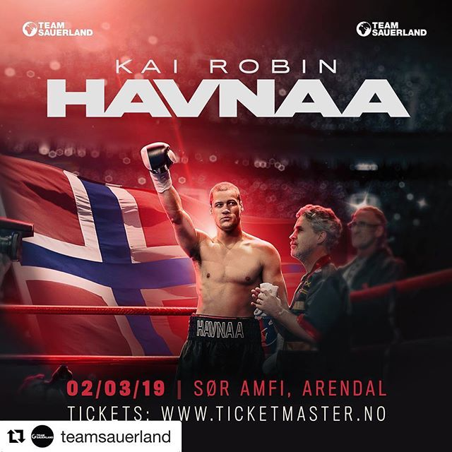 Kai Robin @havnaa headlines his hometown arena on March 2 as Team Sauerland return to the SØR Amfi in Arendal! Tickets on sale now via ticketmaster.no #KingKai #Havnaa #TeamSauerland #Boxing #Boxen