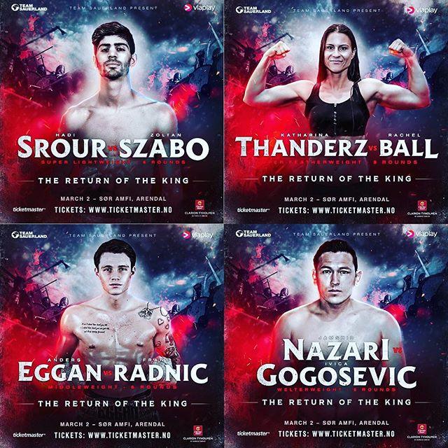 What a great fight card!💥 Kjøp billetter på Ticketmaster.no for en helaften med rå proffboksing! Kom å støtt disse krigerne til seier i Arendal 2. Mars🏆👊💥 @teamsauerland  @hadisrourr  @katharina_thanderz  @anderseggan  @nazari_jamshid
